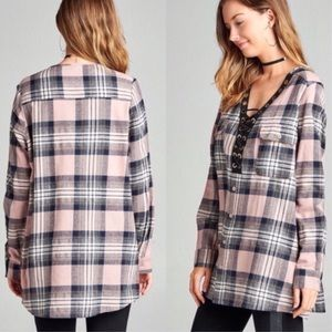 Tops - Pink Plaid Lace-Up Tunic